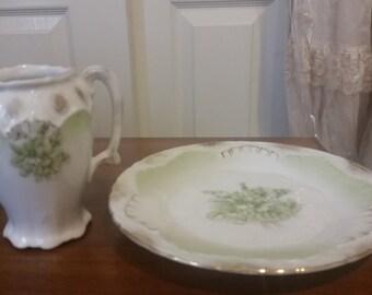 Vintage Creamer and Dessert Plate