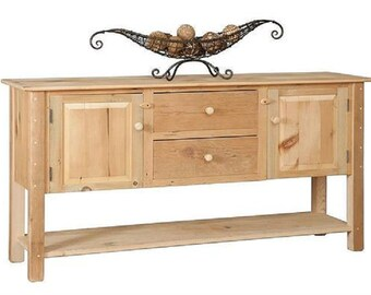 "Reclaimed Barn Wood Sideboard Buffet Server Cabinet - Pine Wood - 2Drawer/2Door- Bottom Shelf - 72""Wx18""Dx36""H"