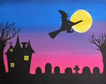 "Fly Into the Night - 14"" x 11"" Acrylic on Stretched Canvas"