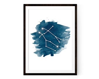 Zodiac Gemini Constellation art, Printable poster
