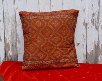 Orange and blue based Saree Pillow Slipcover