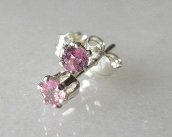 3mm Natural Pink Sapphires set in Sterling Silver Stud Earrings