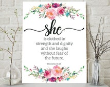 She Is Clothed In Strength And Dignity She Laughs Without Fear Of The Future, Proverbs 31:25, Bible Verse Wall Art, Scripture Printable Art