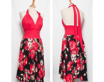 backless dress with plate skirt in floral or black - variations -.