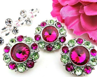 Wholesale FUCHSIA Rhinestone Buttons W/ Fuchsia & Light Green Surrounding Rhinestones Acrylic Buttons DIY Sewing Buttons 25mm 2997 31 34 31R