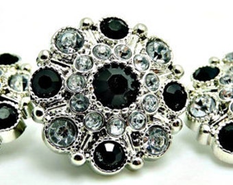 BLACK & CLEAR Rhinestone Buttons Dress Coat Buttons Large Vintage Style Silver Acrylic Rhinestone Buttons Garment Buttons 28mm 5051 1 2R