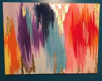 SOLD! Original multicolored abstract acrylic painting with gold leafing
