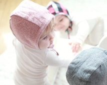 Baby Bonnet in Rose Flannel - winter bonnet, baby flannel bonnet, modern bonnet, baby hat, baby shower gift, reversible bonnet, tod