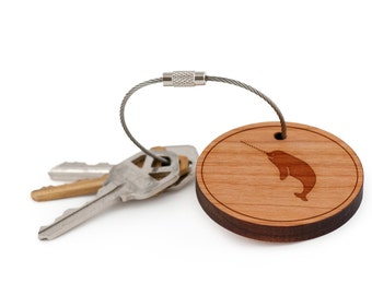 Narwhal Keychain, Wood Keychain, Custom Keychain, Gift For Him or Her, Wedding Gifts, Groomsman Gifts, and Personalized