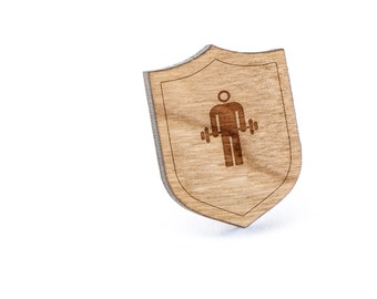 Weightlifting Lapel Pin, Wooden Pin, Wooden Lapel, Gift For Him or Her, Wedding Gifts, Groomsman Gifts, and Personalized