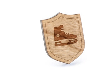 Hockey Skate Lapel Pin, Wooden Pin, Wooden Lapel, Gift For Him or Her, Wedding Gifts, Groomsman Gifts, and Personalized