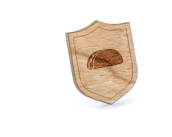 Taco Lapel Pin, Wooden Pin, Wooden Lapel, Gift For Him or Her, Wedding Gifts, Groomsman Gifts, and Personalized