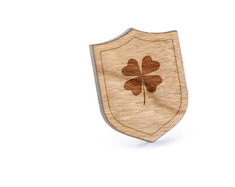 Shamrock Lapel Pin, Wooden Pin, Wooden Lapel, Gift For Him or Her, Wedding Gifts, Groomsman Gifts, and Personalized