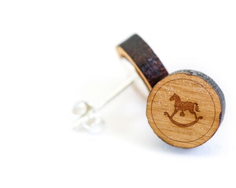 Rocking Horse Stud Earring, Wooden Earring, Gift For Him or Her, Wedding Gifts, Groomsman Gifts, Bridesmaid Gifts, and Personalized