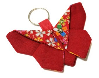 Keychain red origami Japanese fabric