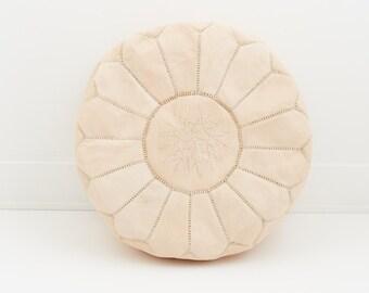 Moroccan Leather Pouf Ottoman, Blush