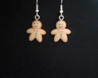 Very Cute Kawaii Gingerbread Man Drop Earrings. Silver Plated Hooks.