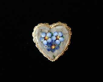 Vintage Heart Micro Mosaic Brooch- Vintage Micro Mosaic Jewelry- Floral Micro Mosaic Brooch- Micro Mosaic Brooch Made In Italy-Valentine Pin