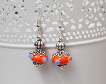 Orange/red and blue earrings