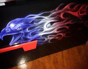 Red, White and Blue Custom Airbrushed Eagle Mailbox