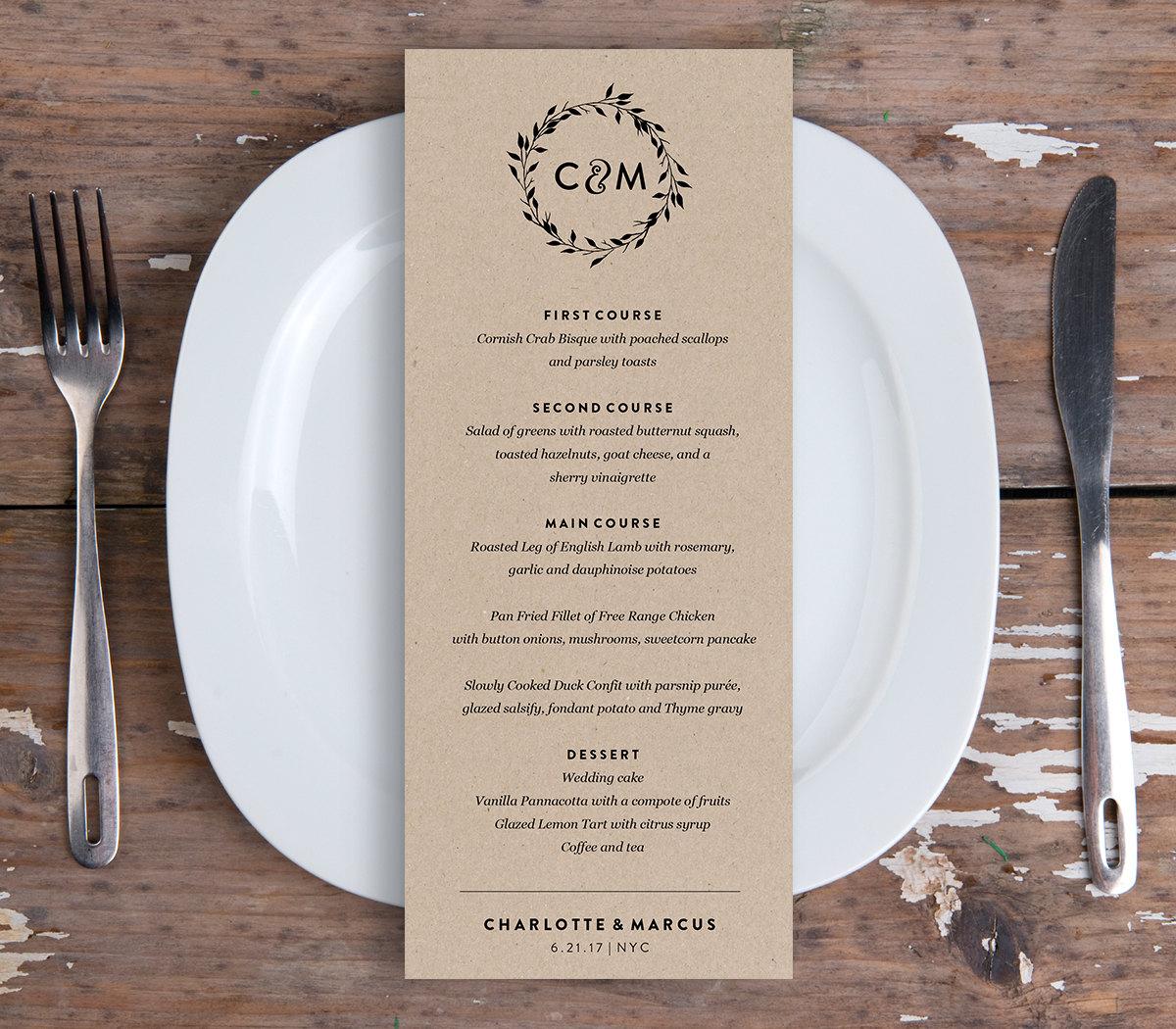 Wedding Menu Card Template Printable Dinner Menu Rustic Wreath – Dinner Card Template