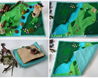 Travel Play Mat - Roll Up Play Mat - Forest Play Mat - woodland camping forest- Landscape Playscape Play Mat