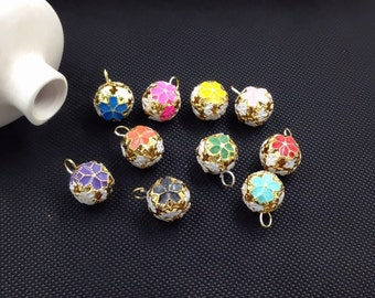 10 pcs 14mm Metal Ball Multi-colored Bell Charm pendant diy jewelry materials,Matte Gold Gilded charm (1-25)