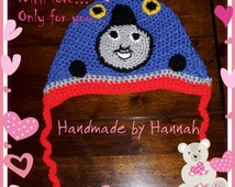 Thomas the tank engine - crochet hat - crochet - character hat - blue - baby - toddler - kids - train - boy - ear flaps - photo prop