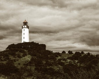 Lighthouse photograph, sepia effect, green rustic wall art
