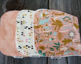 Organic Burp cloths, Girls burp cloth, Baby shower gift, Newborn baby gift, Organic baby gift, Baby girl gift, Organic baby accessories