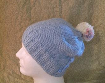 Blue Hat with Pom Pom
