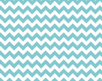 Riley Blake, Small Chevron, Aqua and White, fabric by the yard