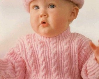 Knitting pattern baby sweater and hat / PDF / Vintage pattern
