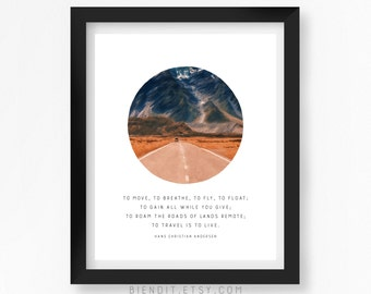 To Travel is to Live, Literary Quote, Hans Christian Andersen, Travel Quote, Quote Print, Typography Print, Literary Art, Minimalist Art