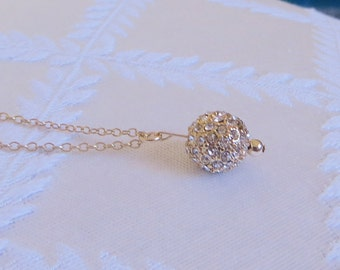 """Gold Filled Necklace with Gold Pave Ball, 16"""", GN-122"""