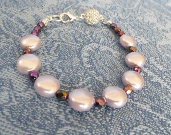 Silver & Lavender Pearl Bracelet, SB-66.  Earrings available.