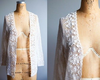Large Vintage White Crocheted  Sweater