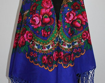 Slavic Shawl in Blue with Floral Print