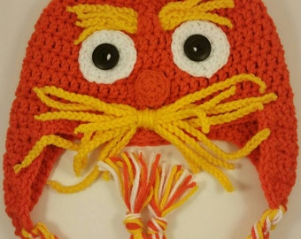 Lorax hat, Handmade Crochet Hat, boy hat, girl hat, winter hat, handmade hat, photo prop, crochet hat