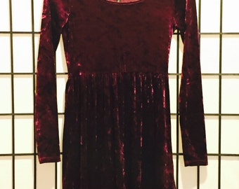 Burgundy Velvet Dress - Small