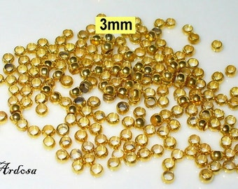 100 beads antique gold 3 mm (64.3.1)