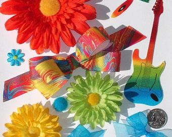Inspiration Kit Embellishments Silk Flowers Grosgrain Crazy Quilts Papercrafts Hair Bows Hats Scrapbooking Needlecrafts Home Decor