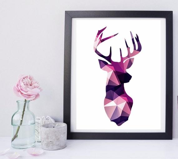 Geometric Purple Deer Wall Art Print Modern Poster Buck