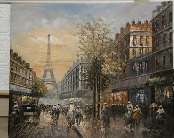 Paris Cityscape, Le Tour Eiffel, Oil Painting by R. Young