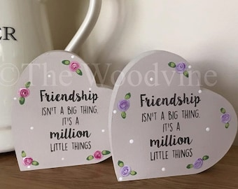10cm Friendship Freestanding Wooden Hearts