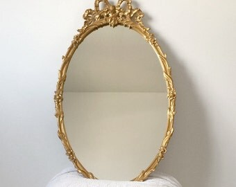NeoClassical/Rococo Inspired, Carved, Gilded-Garland, Oval Wall-Mirror