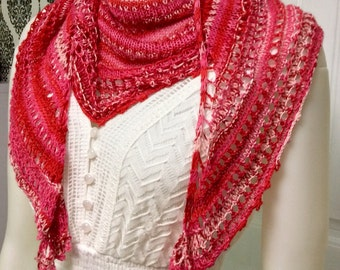 Strawberries & cream shawl