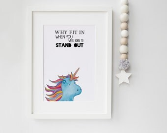 Unicorn print, wall print, quote, wall art, kids decor, nursery decor, kids room