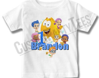 Customized Bubble Guppies Birthday Shirt Add Name & AGE Gift Favors Personalized Bubble Guppies Tee