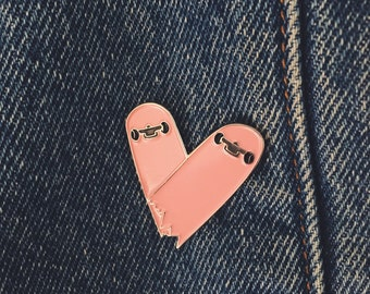 "Broken Heart Skateboard 1.5"" Enamel Pin"